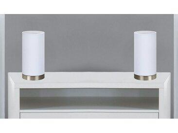 TRANGO LED Tischleuchte, 2er Pack 2018-09WL/2 LED Nachttischlampe *WHITE HOUSE* Tischleuchte mit Stoffschirm in Weiß inkl. je 1x E14 LED Leuchtmittel 3000K warmweiß, Lampe, Fensterbank Leuchte, Nachttischleuchte für Schlafzimmer