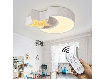 Natsen Deckenleuchte, 24W LED Deckenlampe Kinderlampe voll dimmbar mit Fernbedienung Mond mit Stern 6282 [Energieklasse A++]