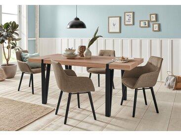 Essgruppe »Sanchez und Bradford«, (Set, 5-tlg), mit Tisch, Breite 180 cm, braun, eichefarben sägerau-Cappucino