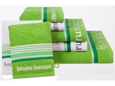 Bruno Banani Handtuch Set »Maja« (Set, 7-tlg), mit farbiger Bordüre, grün, grün-weiß