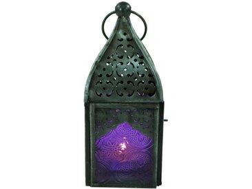 Guru-Shop Laterne »Orientalische Metall/Glas Laterne in..«, lila, lila-mehrfarbig