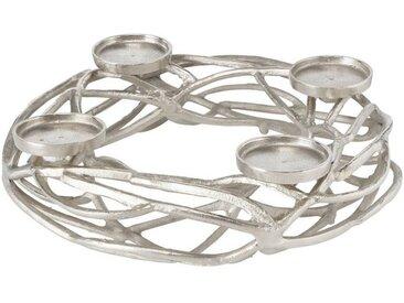 ReWu Kerzenleuchter »4-flammiger Kerzenhalter Silber, Rund« (1-tlg), Für Stumpenkerzen