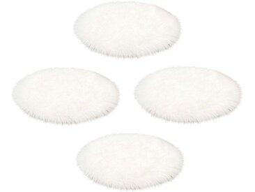 ASTRA Fellteppich »Mia Flokati«, rund, Höhe 50 mm, Sitzkissen, Auflagenset, Kunstfell, weiß, weiß