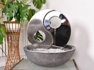 Köhko Zimmerbrunnen »® Wasserwand Yin Yang-S mit Einer Halbschale in Natursteinoptik mit LED- Beleuchtung Wand aus matt gebürsteten Edelstahlmit Becken aus Polyresin 23018«