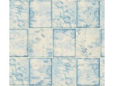 living walls Schaumtapete »Il Decoro«, Fliesen-Optik, blau, metallic-weiß-blau