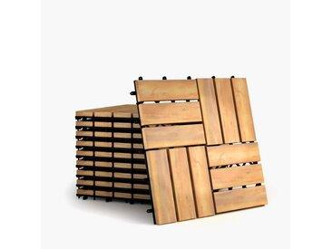 COSTWAY Teppichboden »Terrassenfliesen«, 12 Latten, 10er Set 30x30cm Holz, Bodenfliesen, Akazienholz, Holzfliesen Bodenbelag