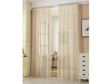 Woltu Gardine, Vorhang mit Kräuselband,transparent(1 Stück), natur, sand