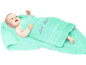 Lashuma Handtuch »London« (1-St), Kinderhandtuch 100x100 cm, Besticktes Baby Strandtuch mit Name, grün, hellmint