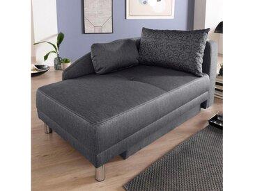 Jockenhöfer Gruppe Recamiere, Chaiselongue mit Bettfunktion und Bettkasten, inklusive Federkern, links oder rechts montierbar, grau, grau