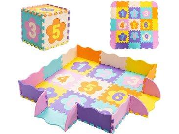 COSTWAY Puzzlematte »Puzzlematte«, 50 Puzzleteile, 50 Stück mit Zaun, Bodenspielmatte mit abnehmbaren Blumenform- und Zahlenmustern, Kinderteppich