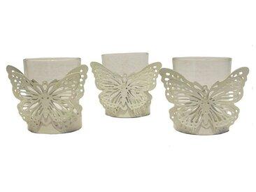 HTI-Line Windlicht »Teelichthalter Butterfly 3er Set Viola« (3 Stück)