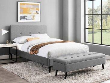INOSIGN Bettbank »Freya«, Sitzfläche gesteppt, mit Strauraum, grau, hellgrau