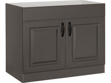 wiho Küchen Spülenschrank »Erla« 100 cm breit mit Kassettenfront, ohne Arbeitsplatte, grau, Anthrazit/Anthrazit