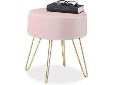 relaxdays Sitzhocker »Samthocker mit Metallbeinen rosa«