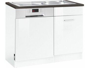 HELD MÖBEL Spülenschrank »Graz« Breite 110 cm, mit Tür/Sockel für Geschirrspüler, weiß, weiß