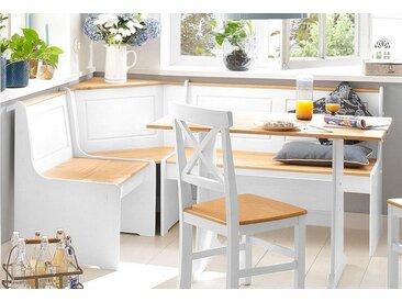 Home affaire Essgruppe »Sascha«, mit Tisch und Truhen-Eckbank, weiß, weiß-natur