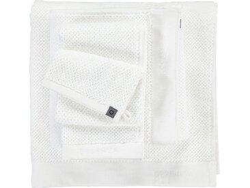 Essenza Handtücher »Connect Organic Uni« (2-St), Ton-in-Ton Bordüre mit gesticktem Markenlogo, weiß, Loop-Aufhänger, white
