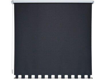 Liedeco Seitenzugrollo, verdunkelnd, mit Bohren, Volantrollo - eckiger Volant, Fixmaß, schwarz, schwarz