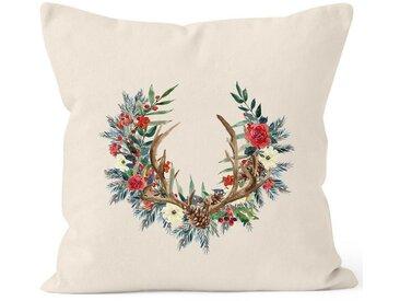 Autiga Dekokissen »Kissenbezug Weihnachten Weihnachtskranz Geweih Hirschgeweih Blumen Gesteck Kranz Misteln ®«, natur, natur