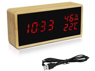 Navaris Wecker Bambus Digitalwecker - Luftfeuchtigkeit Temperatur Anzeige - Dimmer - 3 Alarmfunktionen - Acryl Display - Digitaluhr Wecker