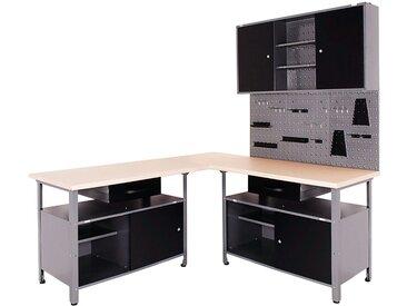 ONDIS24 Werkstatt-Set 4-tlg., mit 2 Werkbänken, Werkzeugschrank & Lochwand, schwarz, schwarz/anthrazit