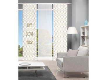 Vision Schiebegardine »LIVE LOVE LAUGH 3er SET«, Paneelwagen (3 Stück), Bambus-Optik, Digital bedruckt, goldfarben, goldfarben