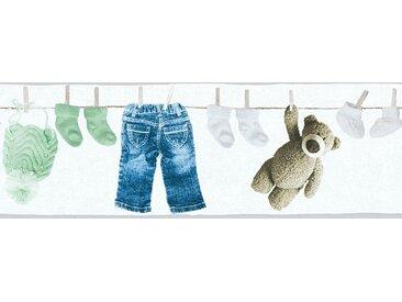 living walls Bordüre »Little Stars«, glatt, Borte mit Teddybären Kinderzimmer, Vlies, PVC-frei, bunt, grün-weiß