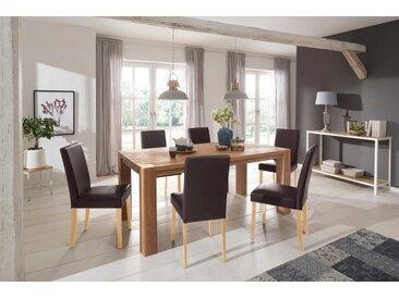 Home affaire Essgruppe »Livara«, (Set, 7-tlg), bestehend aus 6 Lucca Stühlen und dem Mary Esstisch, braun, Dunkelbraunfarbener Stuhlbezug