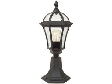 Licht-Erlebnisse Sockelleuchte »GWEN Wegeleuchte Schwarz Aluminium Glas klein Garten Terrasse Sockellampe Lampe«