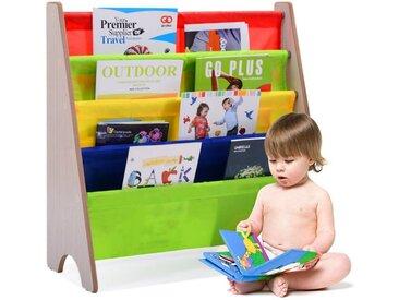 COSTWAY Bücherregal »Bücherregal«, Hängefächerregal Büchergestell Zeitungsständer mit 4 Ablagefächern, natur, Natur+Bunt
