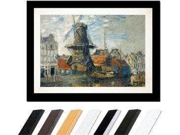 Bilderdepot24 Wandbild, Claude Monet - Windmühle am Onbekende Kanal, Amsterdam, bunt, Schwarz Glatt