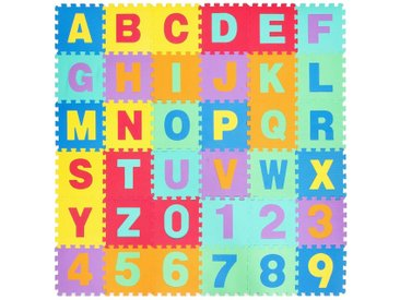 COSTWAY Puzzlematte »Puzzlematte«, Puzzleteile, 36 Stück mit abnehmbarem Alphabet und Zahlen, Kinderteppich je 31,5x31,5x1cm, Spielteppich Eva