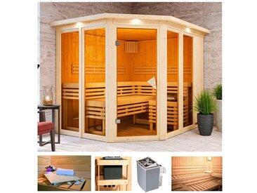 Karibu KARIBU Sauna »Aaina 3«, 245x210x202 cm, 9 kW Ofen mit int. Steuerung, Dachkranz, natur, 9 kW mit integrierter Steuerung, natur