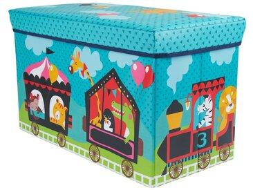 BIECO Spielzeugtruhe »Bieco Aufbewahrungsbox mit Deckel Kinder Zirkus, faltbar, Sitzhocker mit Sitzgelegenheit, und Polsterung, Spielzeugkiste mit Stauraum, Sitztruhe, Jungen & Mädchen, 66 L