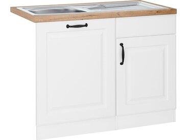 wiho Küchen Spülenschrank »Erla« 110 cm breit, inkl. Tür/Sockel für Geschirrspüler, weiß, weiß/kastelleichefarben
