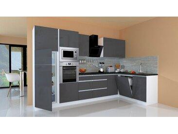 RESPEKTA Winkelküche »Usedom«, mit E-Geräten, mit Soft-Close Funktion, Breite 345 x 172 cm, grau, grau