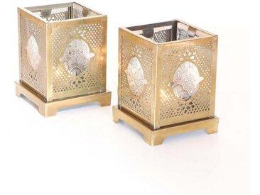 Casa Moro Windlicht »Orientalisches Windlicht Mahir aus Glas & Metall, Marokkanische Glaslaterne für drinnen & draußen, Teelichthalter mit Ornamentglas in Antik-Gold Look« (Set, 2 Stück, 2er-Set), WDL1002, goldfarben, Glas & Metall