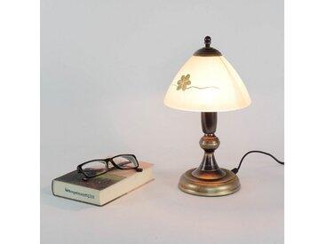 Licht-Erlebnisse Tischleuchte »HALLI Tischleuchte Shabby Landhaus Messing Glas Nachttischlampe Lampe«
