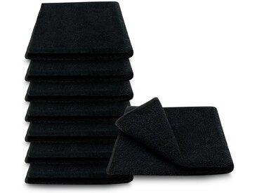 ARLI Gästehandtücher »Gästetuch 30 x 50 cm Gästetücher Handtuch 100% Baumwolle hochwertige Frottier klassischer Design elegant schlicht modern praktisch mit Handtuchaufhänger« (8-St), schwarz