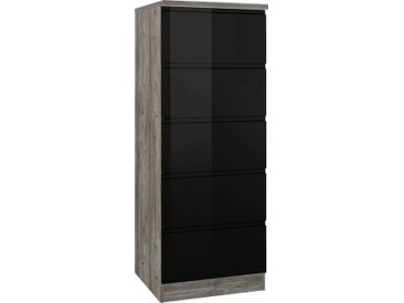 HELD MÖBEL Vorratsschrank »Virginia« 60 cm breit, mit 5 Auszügen, schwarz, schwarz Hochglanz