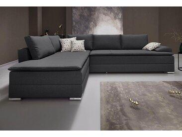 INOSIGN Ecksofa, mit Bettfunktion 180 cm, Dauerschlafgeeignet, grau, mit Bonnellfederkern, anthrazit
