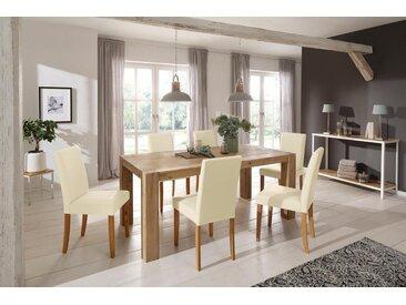 Home affaire Essgruppe »Silje«, (Set, 7-St), bestehend aus 6 Lucca Stühlen und dem Maggie Esstisch, natur, Cremefarbener Stuhlbezug