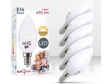 B.K.Licht LED-Leuchtmittel, E14, 5 Stück, Warmweiß, 5er Set 5W LED-Birnen, Ersetzt 40W Halogen-Lampe, Kerzenform, 470 Lumen