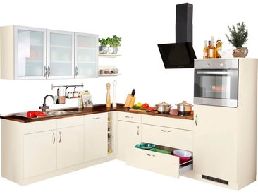 wiho Küchen Winkelküche »Peru«, mit E-Geräten, Stellbreite 260 x 235 cm, natur, Vanille