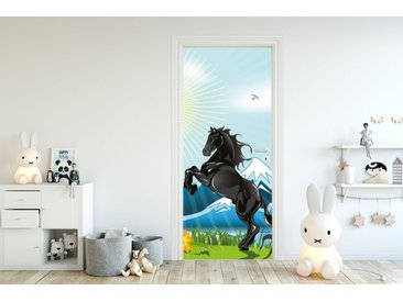 Bilderdepot24 Deco-Panel, Türaufkleber - Kinderbild Pferd