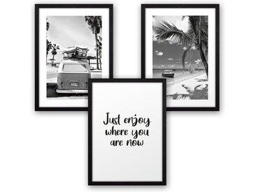 Kreative Feder Poster, Schwarz-Weiß, Fotografie, Urlaub, Strand, Meer, Palme (Set, 3 Stück), 3-teiliges Poster-Set, Kunstdruck, Wandbild, wahlw. in DIN A4 / A3, 3-WP118