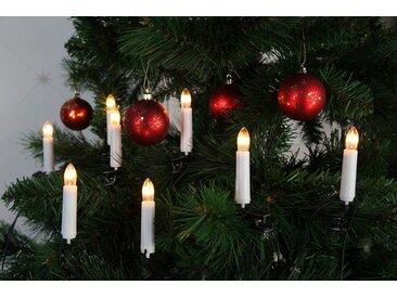 STAR TRADING Christbaumkerzen »Kerzenkette - 25 warmweiße Kerzen - Indoor - Ring - E10 Fassung - H: 11cm, L: 12m - weiß«