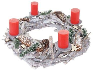 MCW Adventskranz »T869«, Ø 48 cm, Mit 4 Kerzenhaltern, Aufwendig geschmückt, weiß, weiß, rote Kerzen
