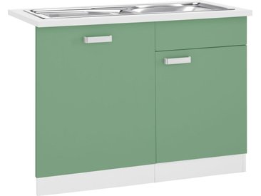 wiho Küchen Spülenschrank »Husum« 110 cm breit, inkl. Tür/Sockel für Geschirrspüler, grün, avocadogrün/weiß