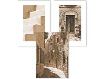 Kreative Feder Poster, Sepia, Fotografie, Stadt, historisch, Altstadt, Treppe, Holztür (Set, 3 Stück), 3-teiliges Poster-Set, Kunstdruck, Wandbild, wahlw. in DIN A4 / A3, 3-WP122